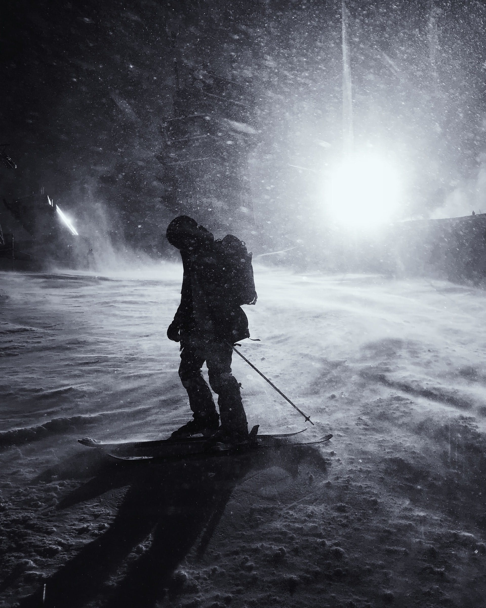 ski touring at night