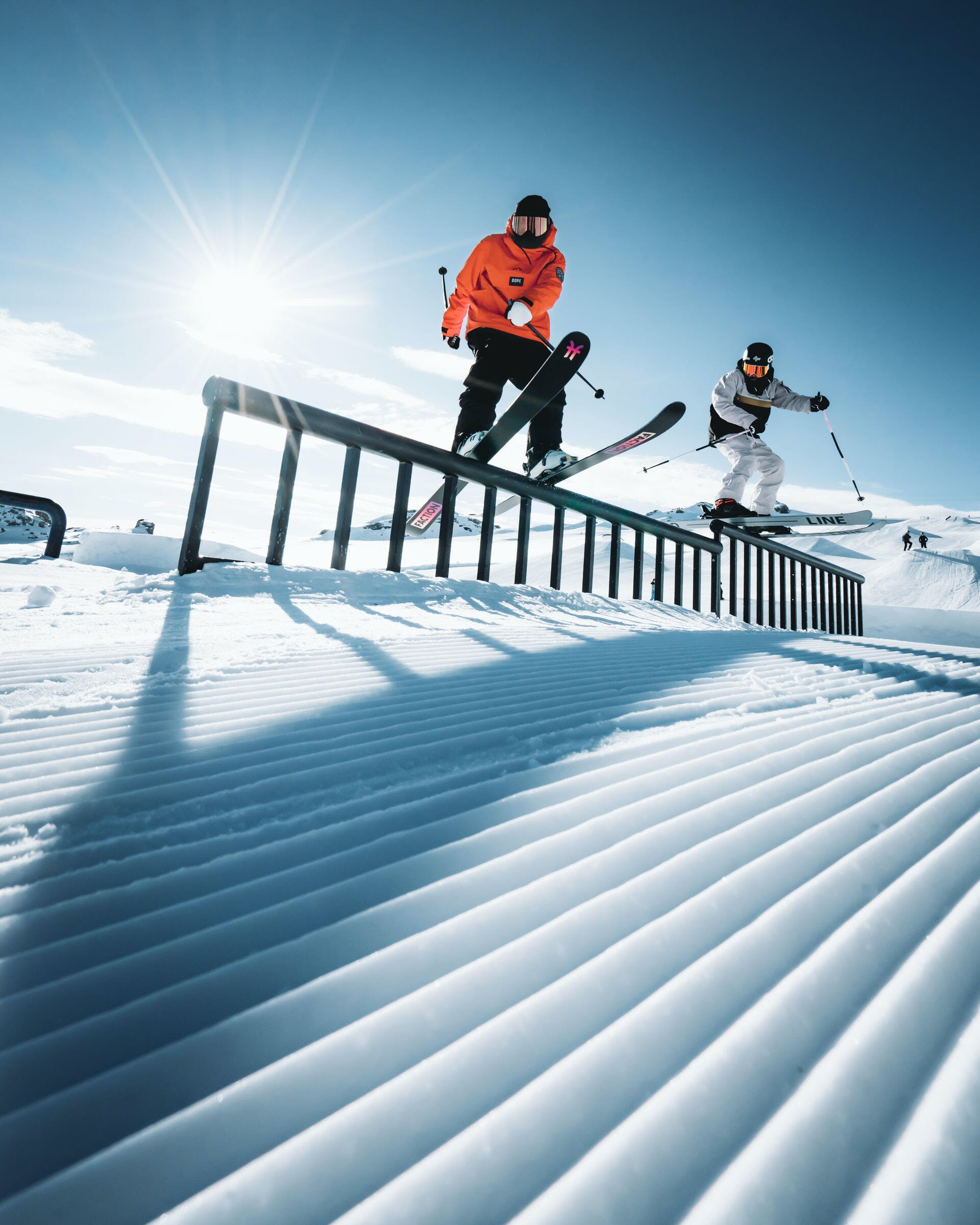 skiing boxes and rails